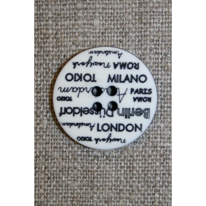 4-huls knap knækket hvid med tekst, 23 mm.-33