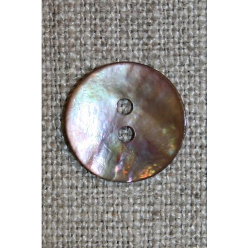 Perlemors knap pudder-brun, 15 mm.