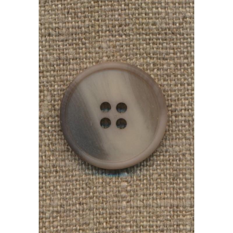 4-huls knap grå-brun/kit/lysegrå, 23 mm.