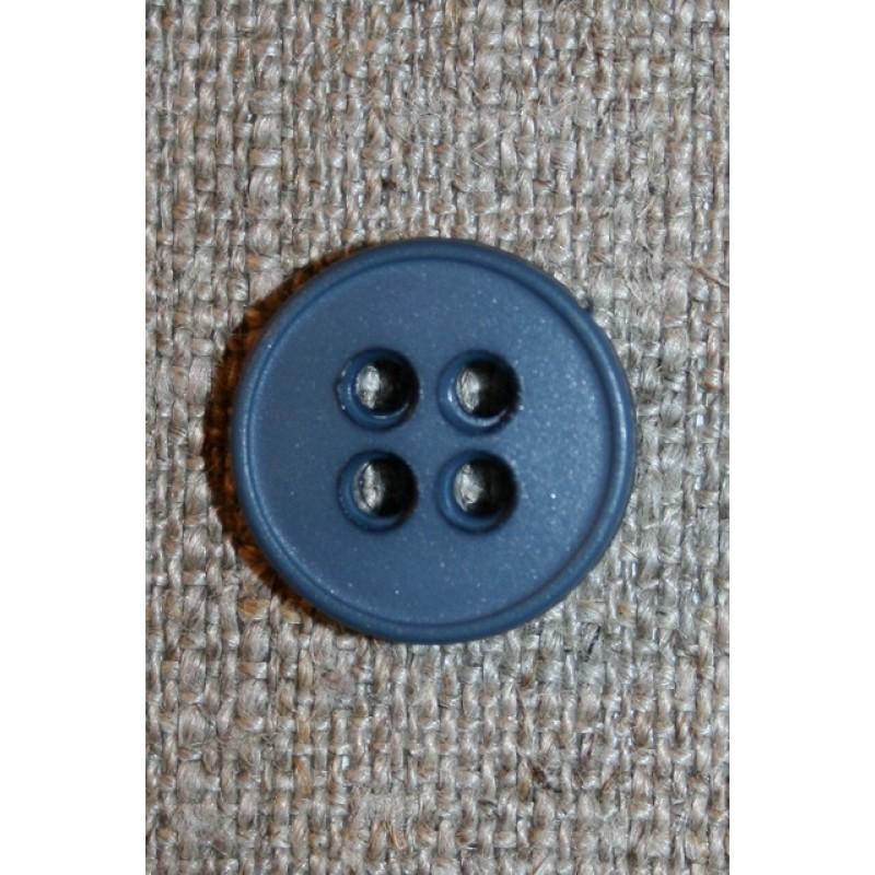 4-huls knap denim blå, 15 mm.