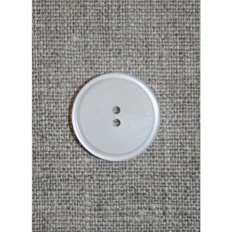 Hvid 2-huls knap, 20 mm.
