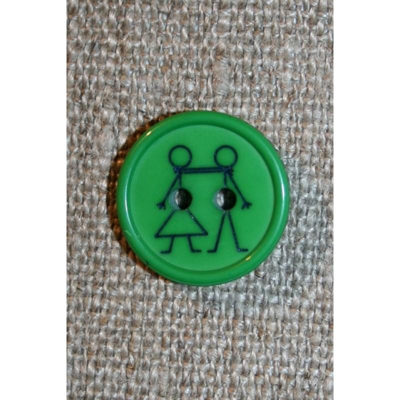 Knap med dreng og pige, grøn