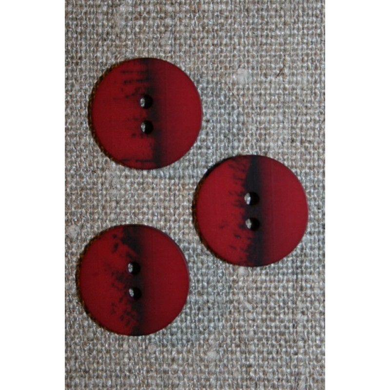 2-huls knap meleret bordeaux - sort, 18 mm.