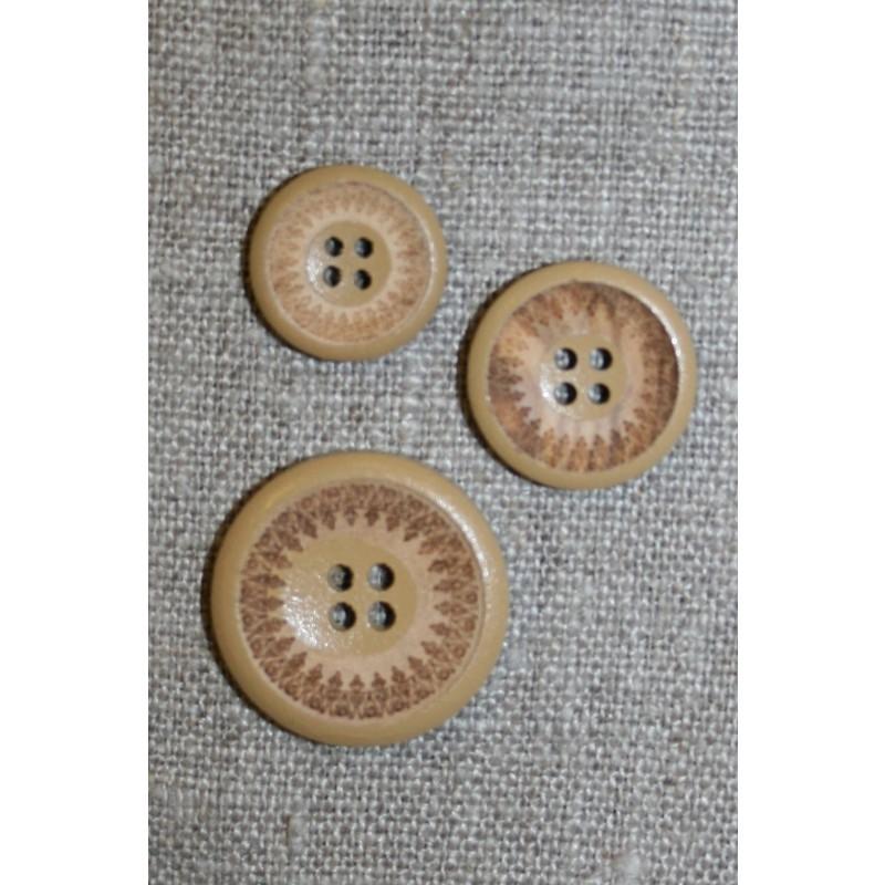 4-huls træ knap med mønster og kant i beige, 18 mm