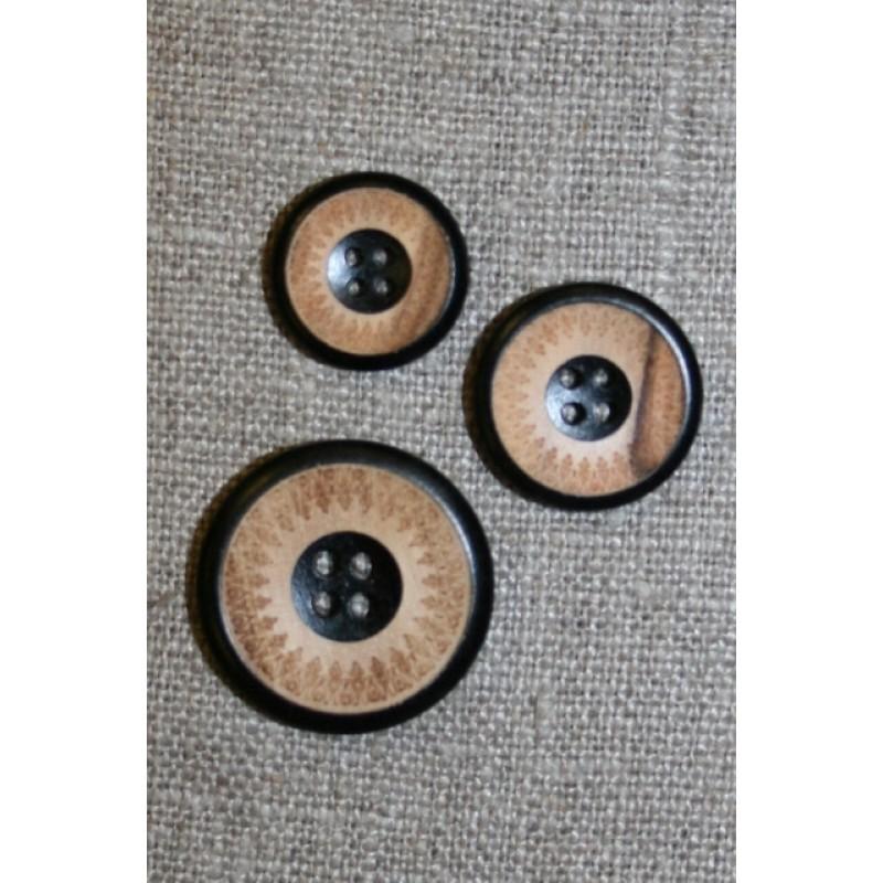 4-huls træ knap med mønster og kant i sort i 3 str.-33
