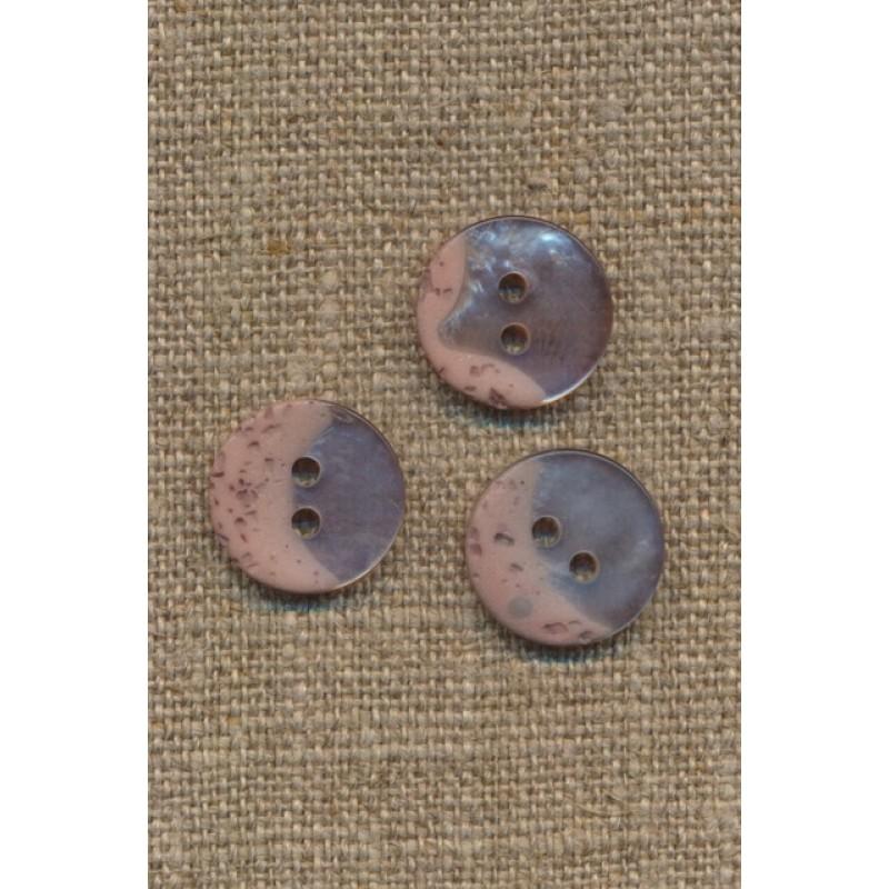2-huls knap meleret og blank i beige og pudder, 15 mm.-36