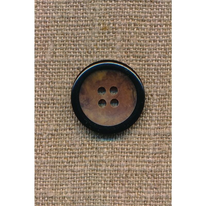 4-huls knap brun meleret med sort kant, 20 mm.-33