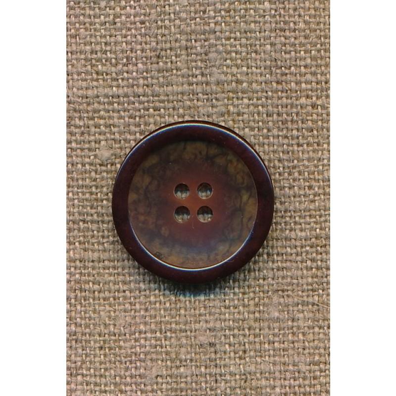 4-huls knap brun meleret med brun kant, 23 mm.-34