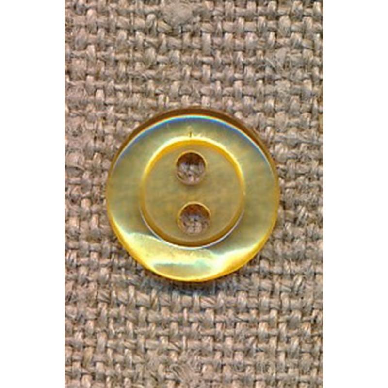Blank 2-huls knap i lys gul, 11 mm.
