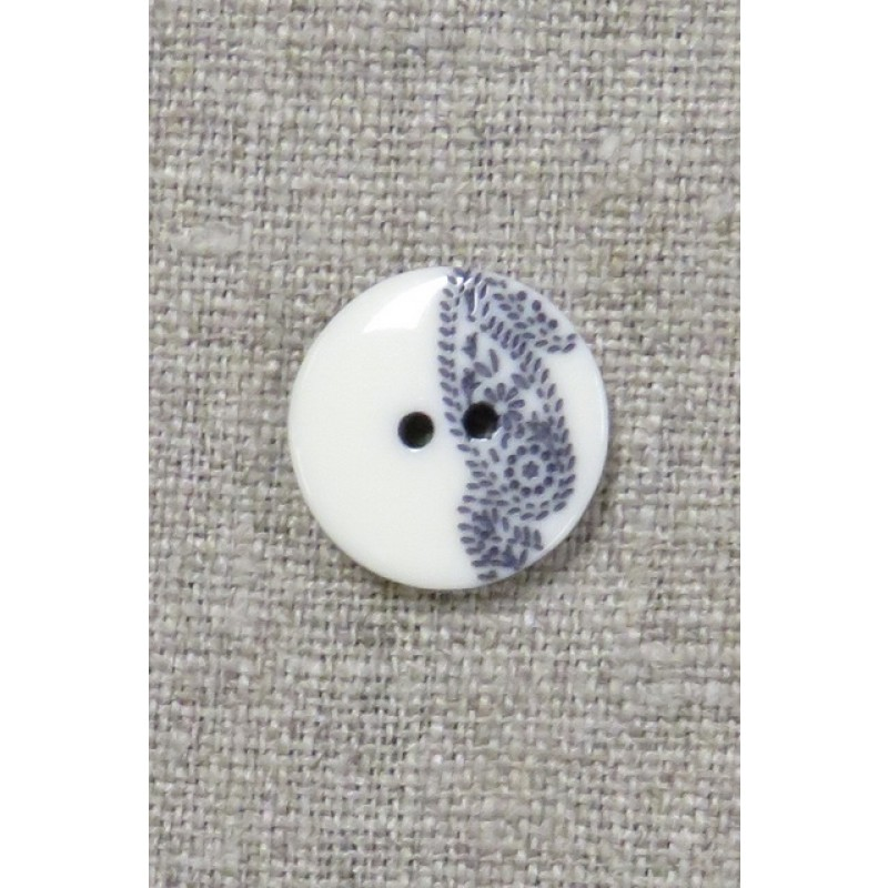 2-huls knap med sjals-/ Paisley mønster i off-white og blå 15 mm.-35