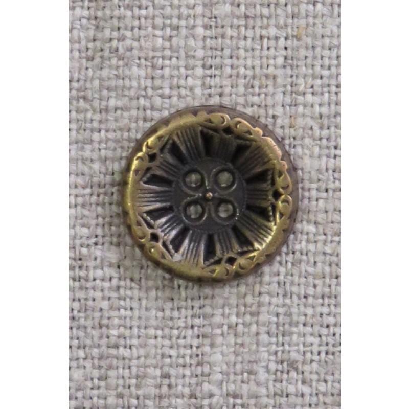 4-huls knap i gl. guld med mønster, 15 mm.-34