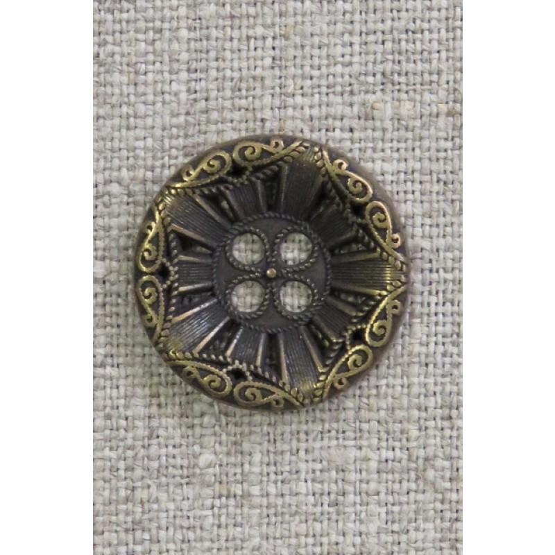 4-huls knap i gl. guld med mønster, 23 mm.-36