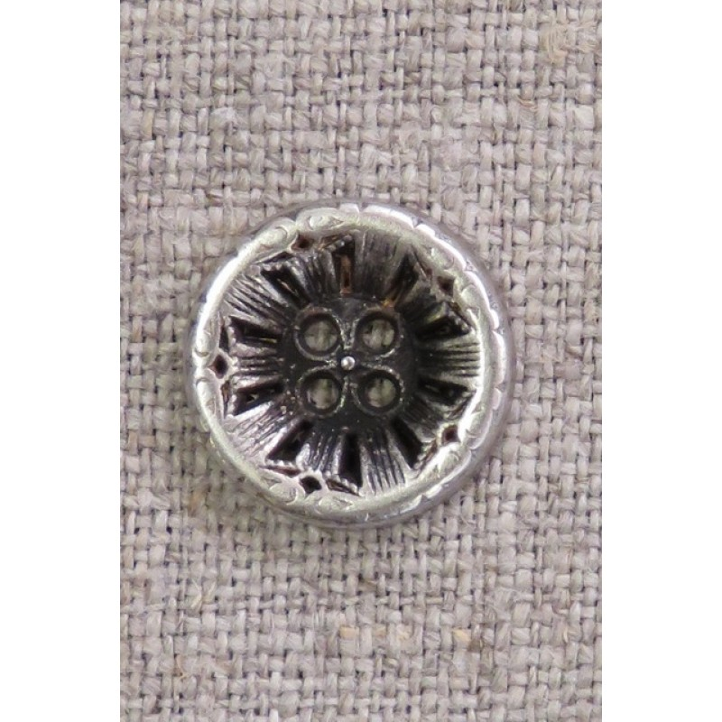 4-huls knap i gl. sølv med mønster, 15 mm.-35