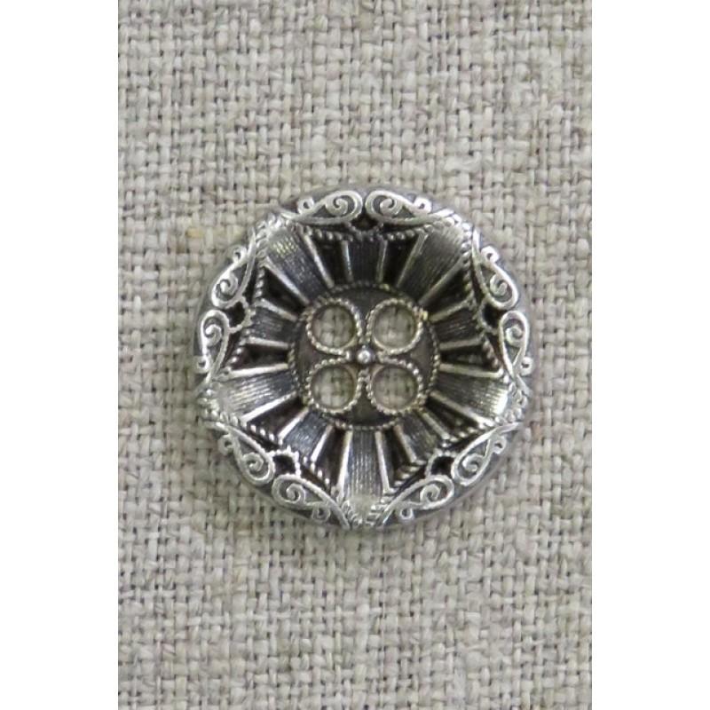 4-huls knap i gl. sølv med mønster, 20 mm.-36