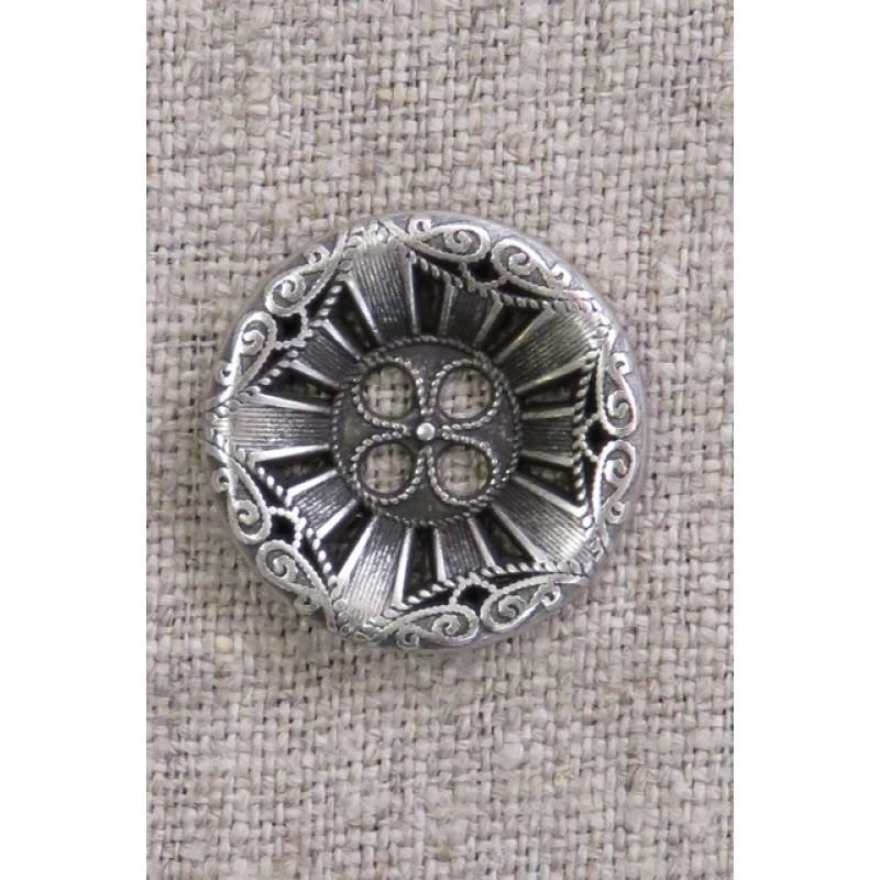 4-huls knap i gl. sølv med mønster, 23 mm.-37