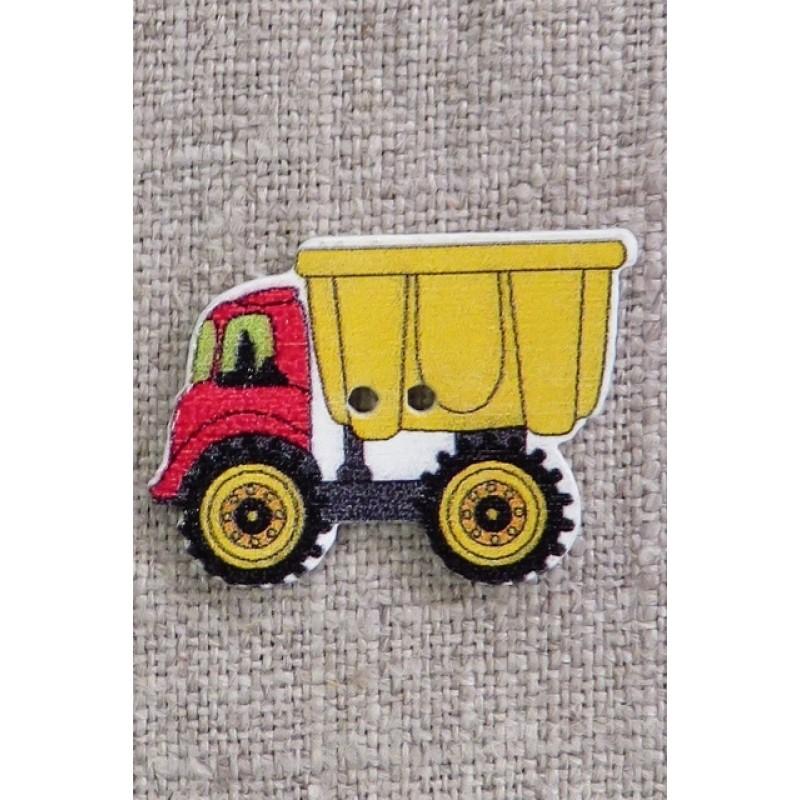 Træknap med lastbil gul og rød, 34 mm.