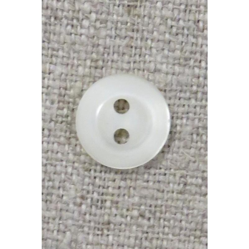 Lille knækket hvid 2-huls knap, 11 mm.-32