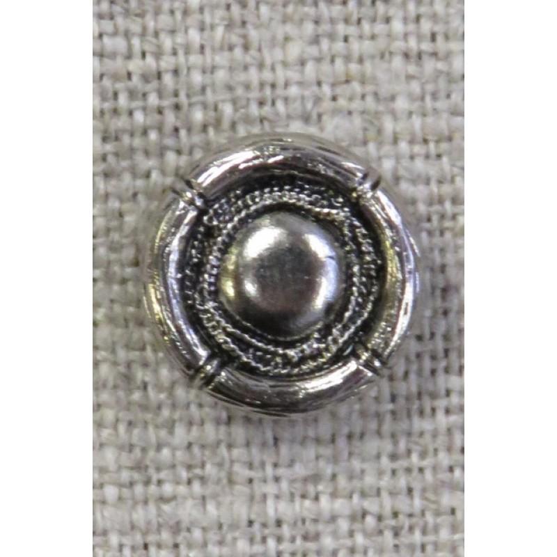 Rund gl.sølv knap i skjold-look 13 mm.