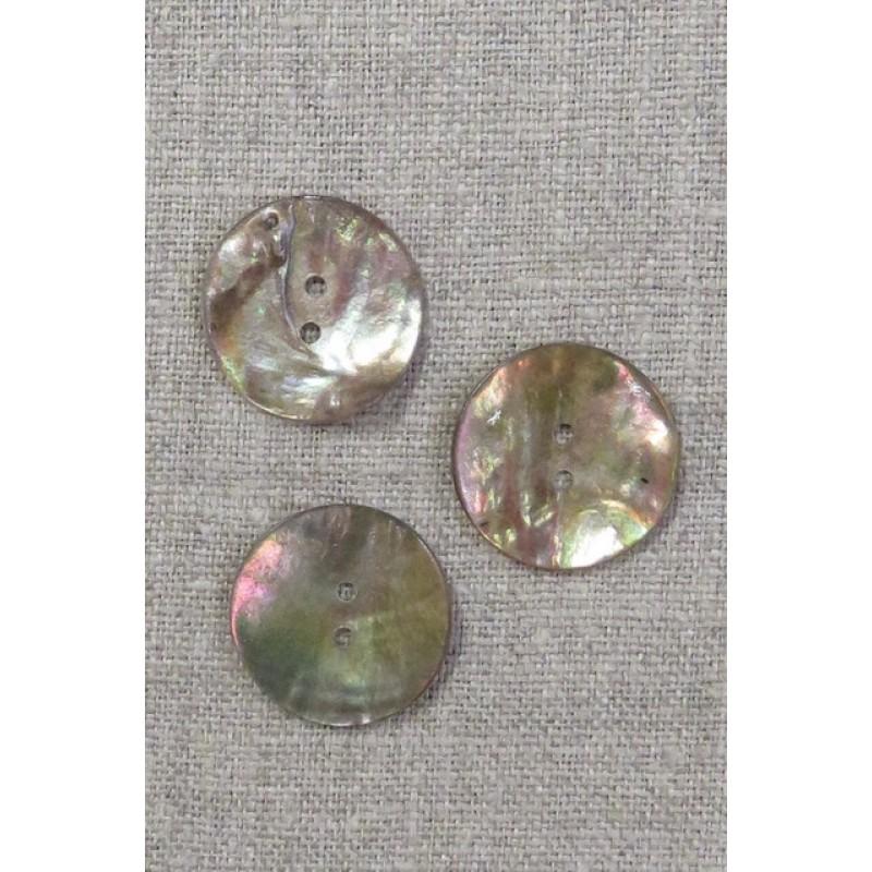 Perlemorsknap mørk natur 23 mm.-36