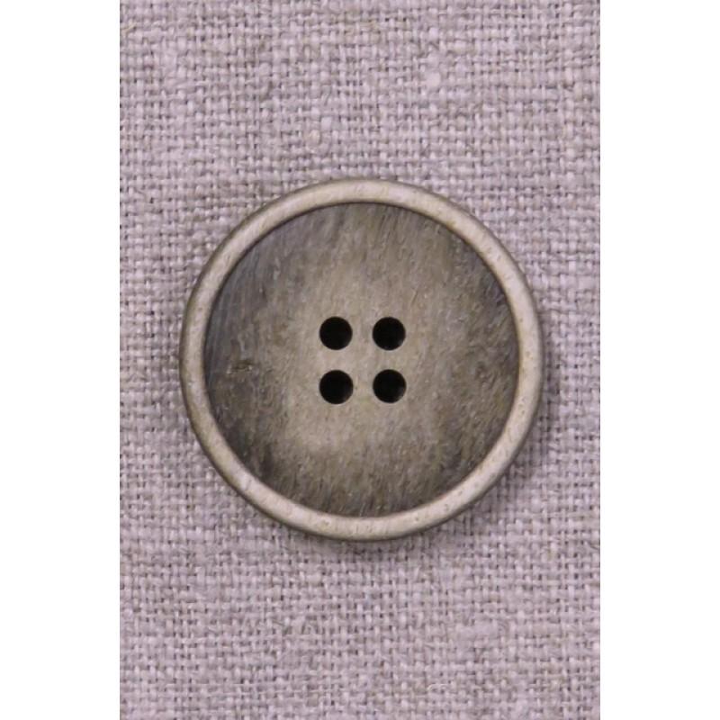 4-huls knap i beige/brun meleret 28 mm.