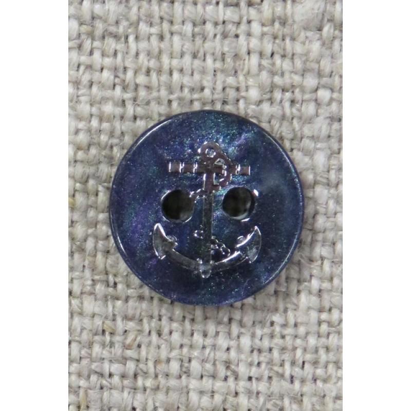 Knap med sølv anker i marine, 11 mm.