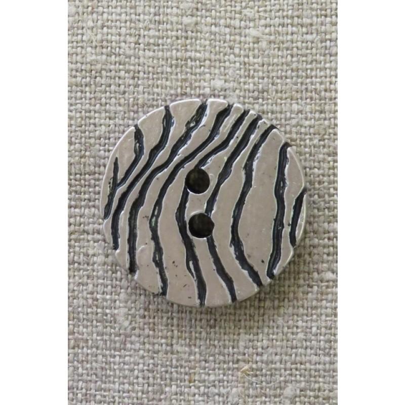 2-huls knap i sølv-look med zebra-striber 30 mm.-34