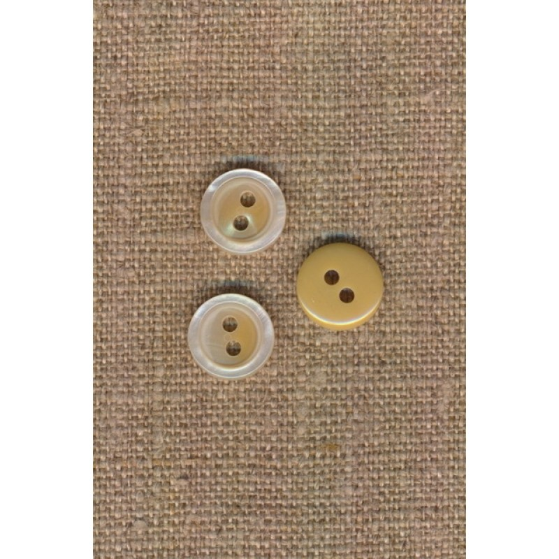 2-huls knap blank i offwhite-beige, 11 mm.