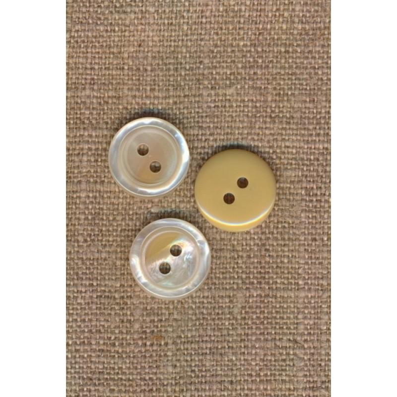 2-huls knap blank i offwhite-beige, 15 mm.