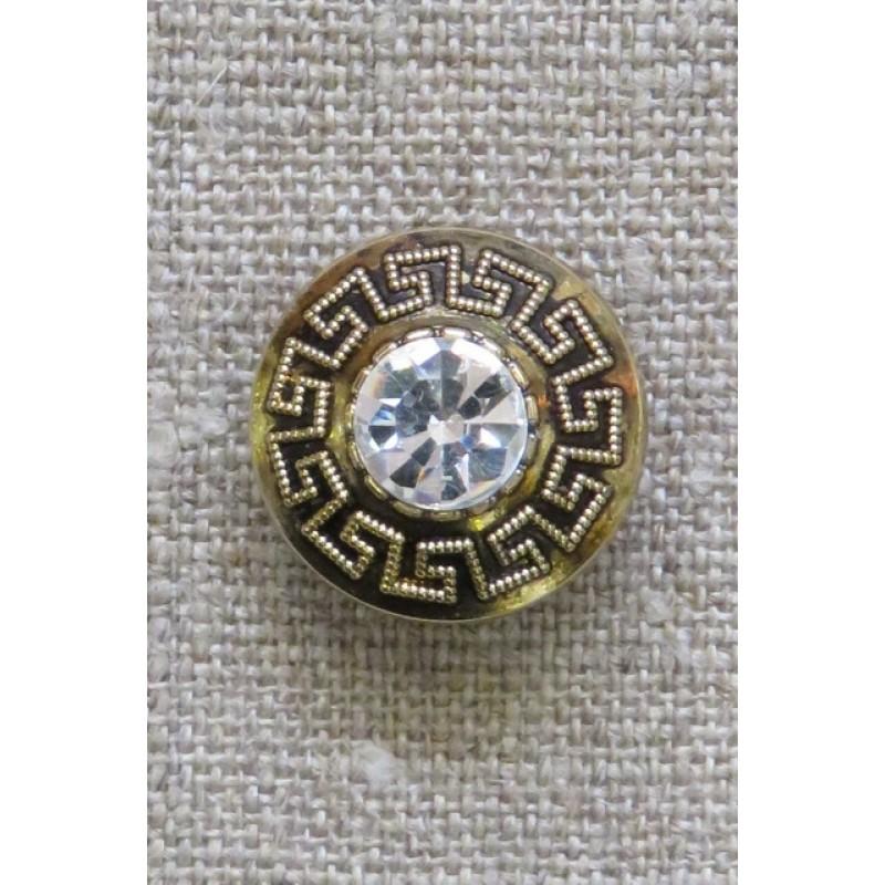 Knap i guld med Græsk mønster og simili sten, 20 mm.-39