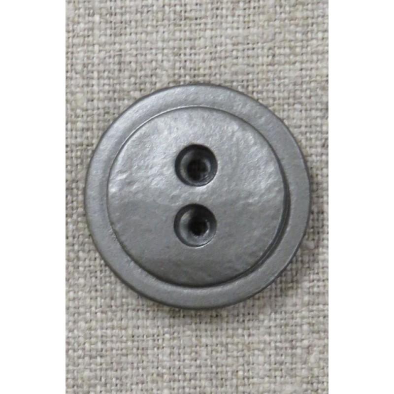 2-huls plast knap i gl.sølv 28 mm.-32
