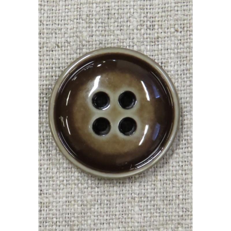 Blank 4-huls knap meleret i brun 28 mm.-33