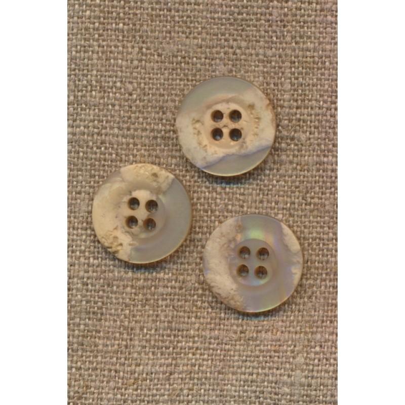 4-huls knap krakeleret beige/pudder, 18 mm.-34