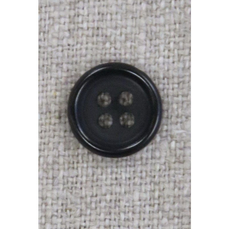 4-huls knap i sort 13 mm.-34