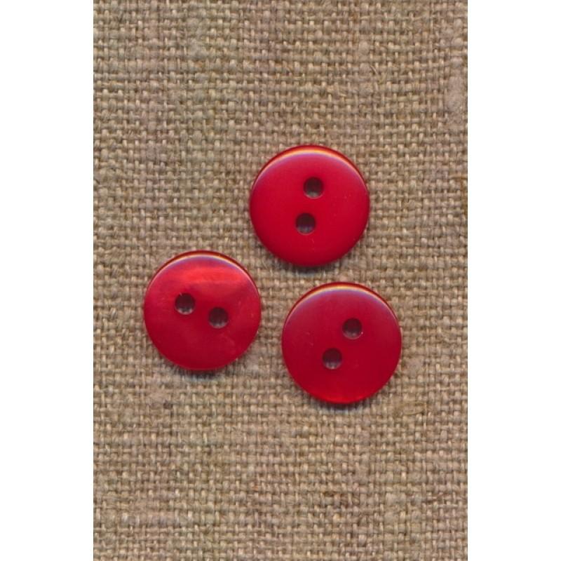 2-huls knap i rød 13 mm.-33