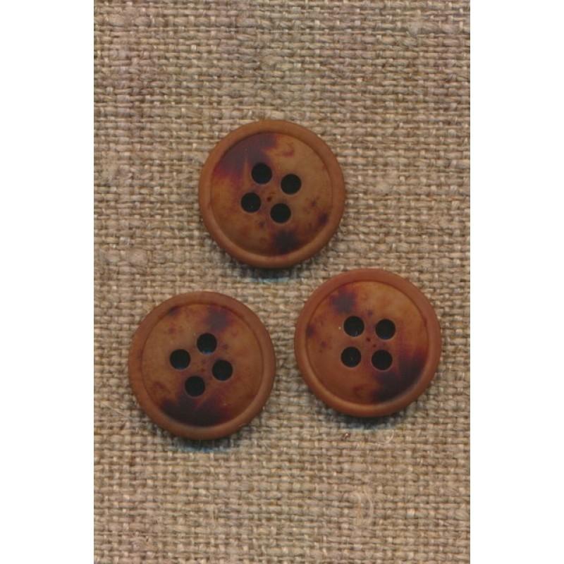 4-huls knap meleret brun mørkebrun og rust, 15 mm.-34