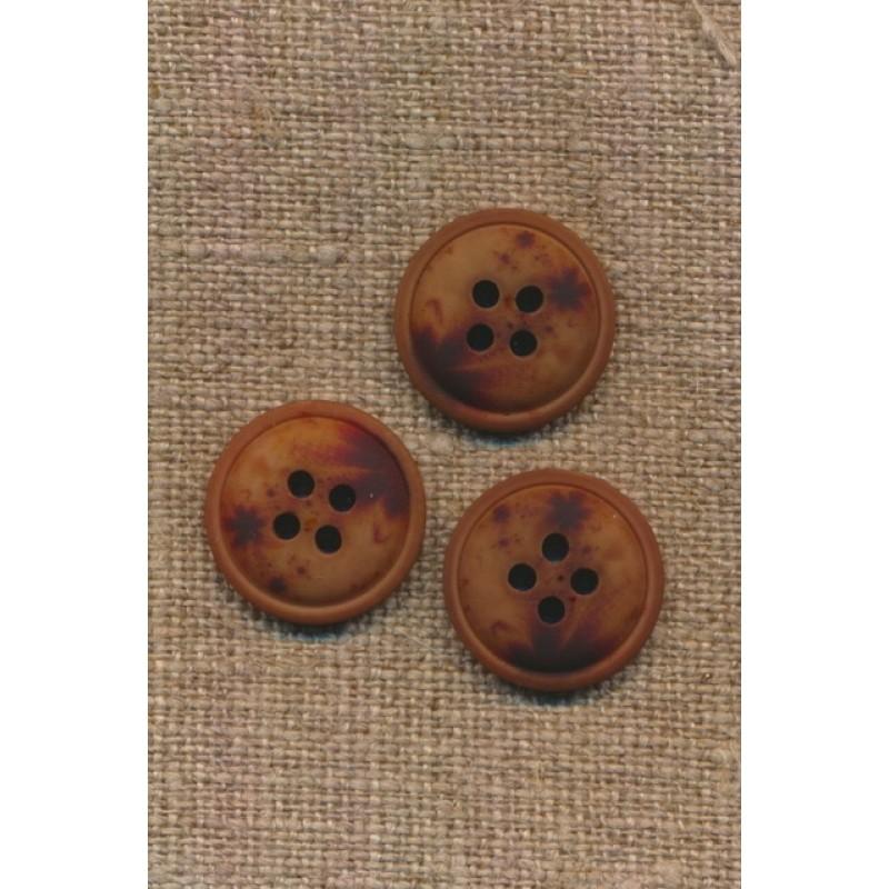 4-huls knap meleret brun mørkebrun og rust, 18 mm.-35