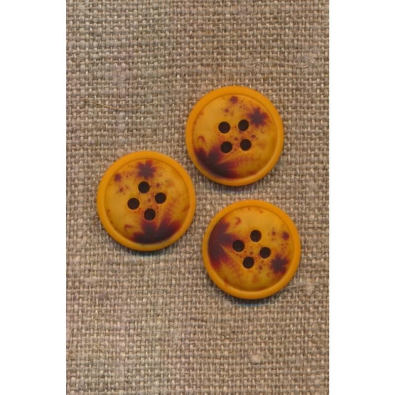 4-huls knap meleret gul carry mørkebrun 18 mm.-36