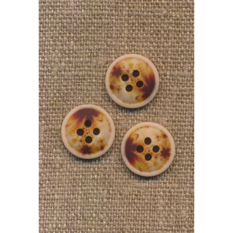 4-huls knap meleret natur brun gylden 15 mm.-36