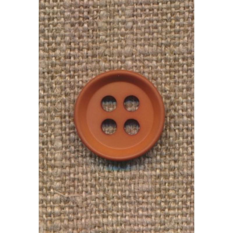 4-huls knap i rød-brun 15 mm.-36