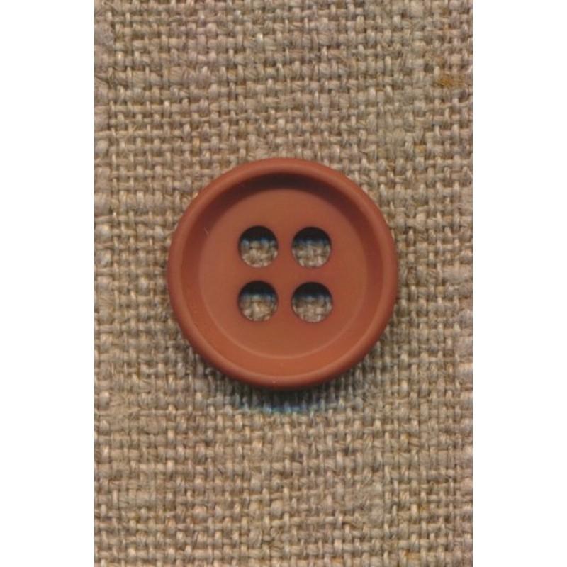 4-huls knap i rød-brun 18 mm.-37