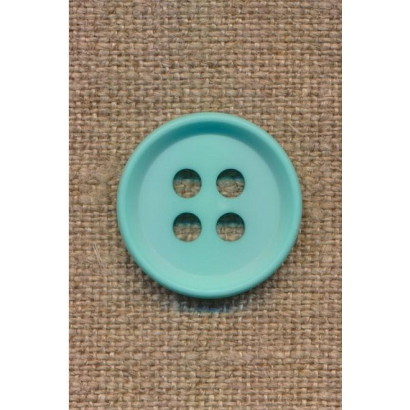 4-huls knap i aqua 23 mm.