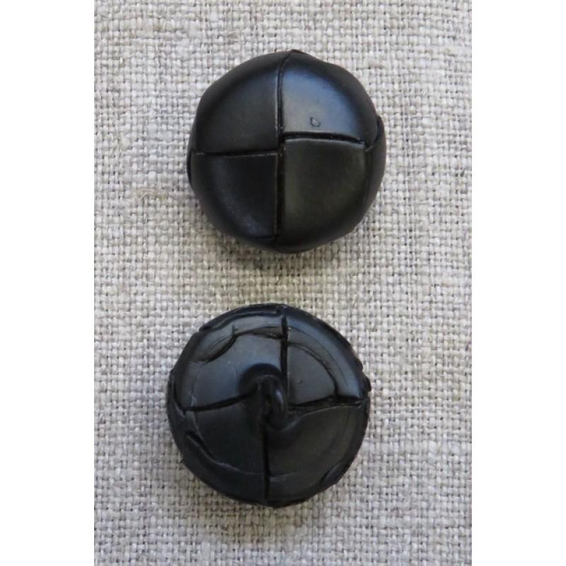 Plast knap i læderlook i sort 20 mm.-35