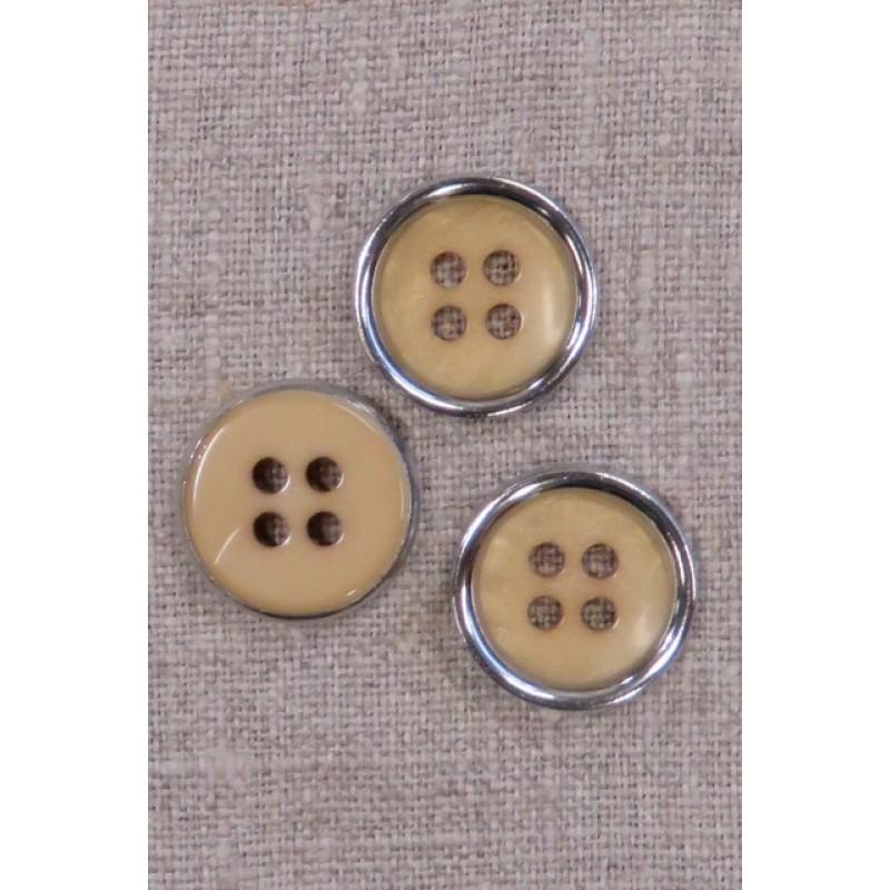 4-huls knap beige/gylden med sølv kant, 20 mm.-35