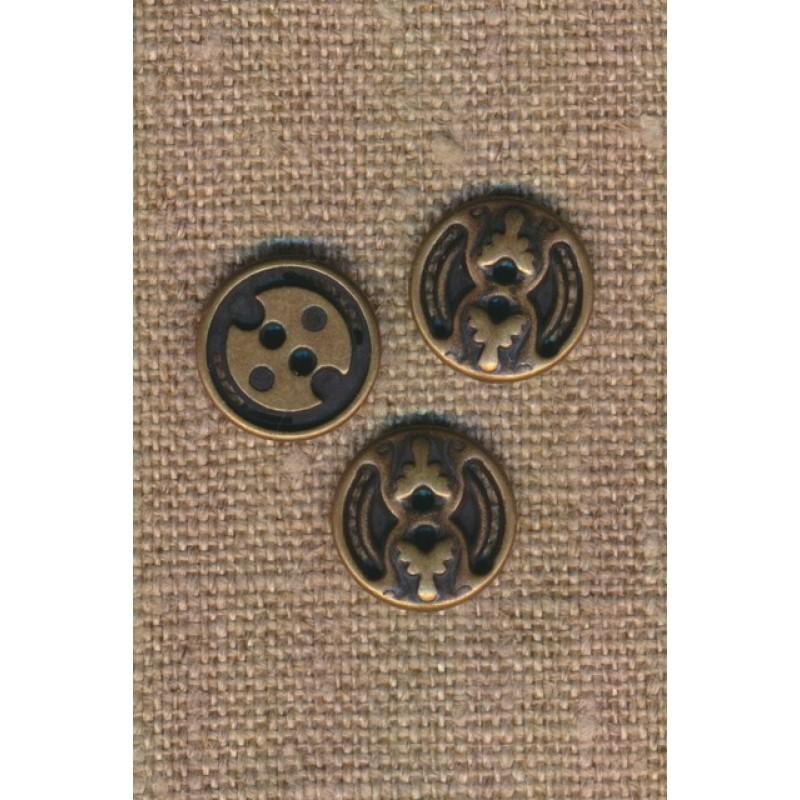 2-huls metal knap i oxyderet med mønster, 14 mm.-35