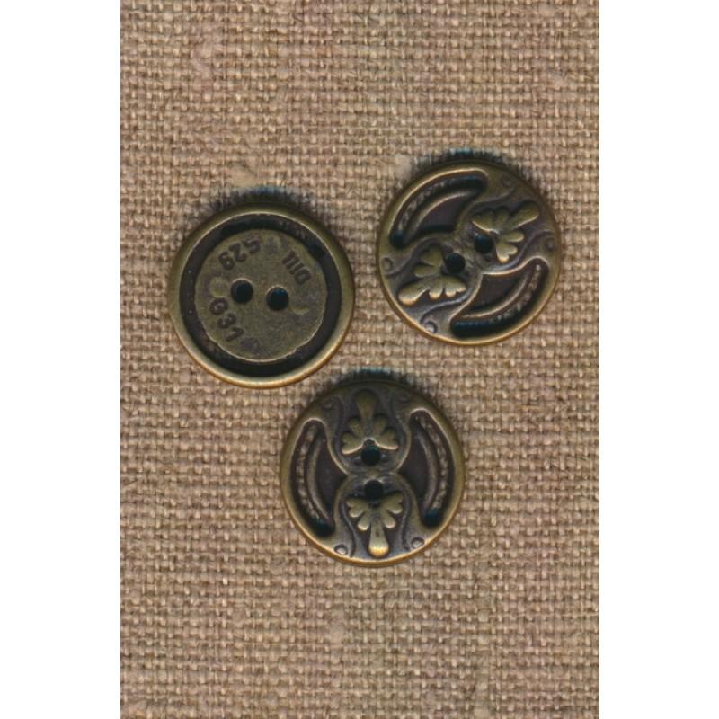2-huls metal knap i oxyderet med mønster, 18 mm.-36