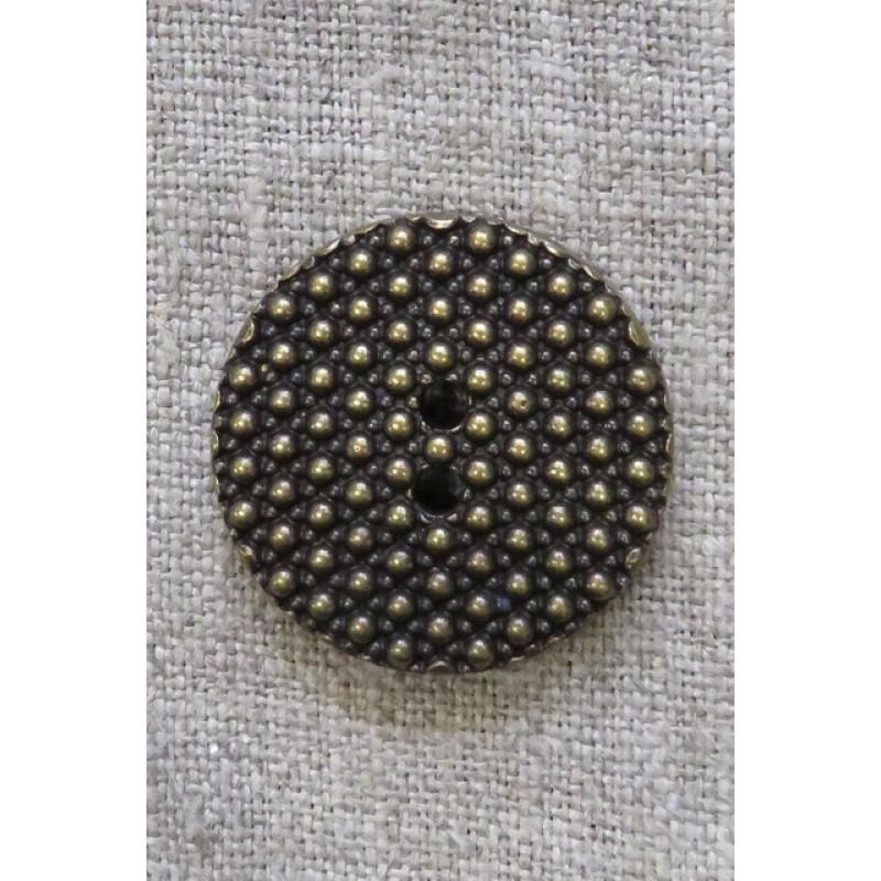 2-huls Gl.guld knap med prikker, 28 mm.-32