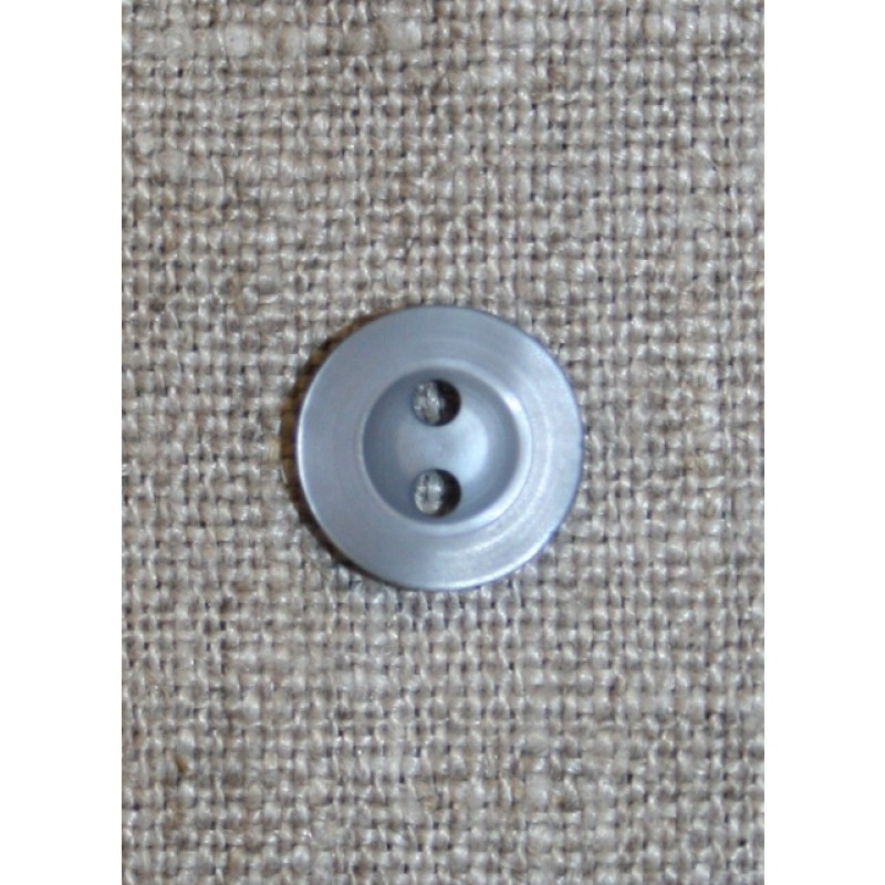 Grå-blå 2-huls knap, 11 mm.