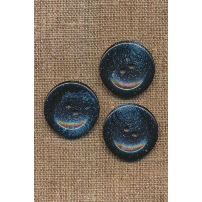 Recycled meleret 2-huls plast knap i mørkeblå og denim 25 mm.