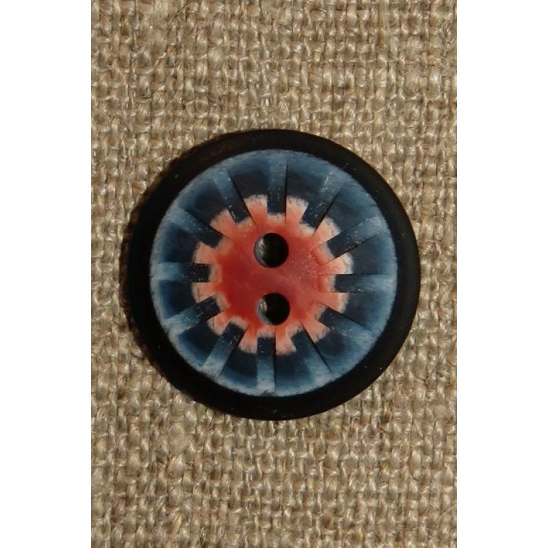 2-huls knap mønstret i denim blå rosa 20 mm.-37