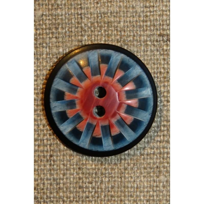 2-huls knap mønstret i denim blå rosa 25 mm.-38